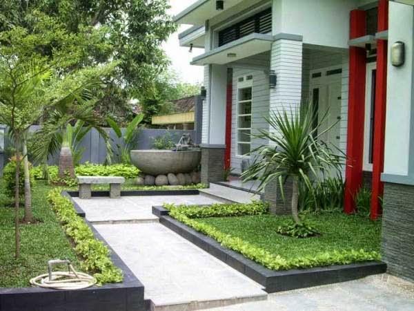 Contoh taman rumah yang indah di depan rumah minimalis
