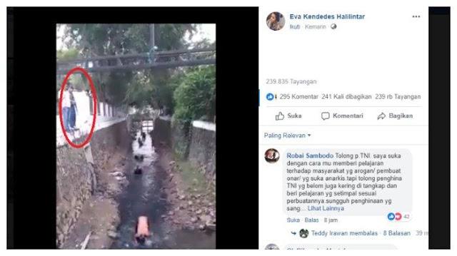 Video 7 Pelaku Tawuran Dihukum Guling-guling di Sungai Kotor dan Disaksikan Anggota TNI Bersenjata