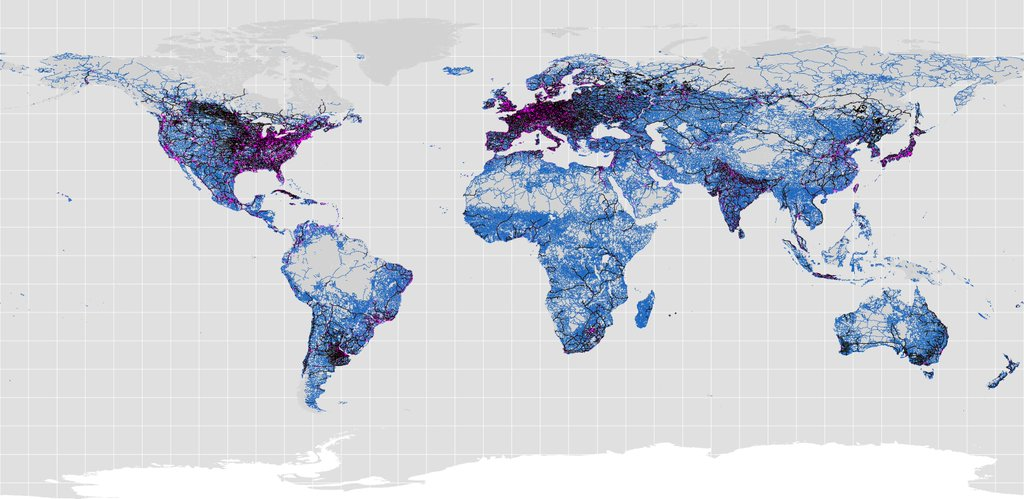 Worlds roads, railroads and urban areas