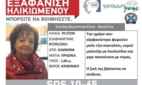 Άκαρπες είναι μέχρι στιγμής οι έρευνες για τον εντοπισμό της 70χρονης Κωνσταντίνας- Βιολέτας Σούλη τα ίχνη της οποίας χάθηκαν το βράδυ της Παρασκευής.