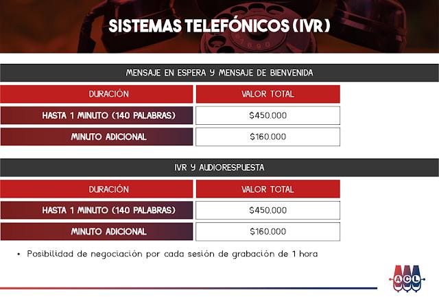 Tarifas de Locución en Sistemas Telefónicos IVR - Colombia 2021