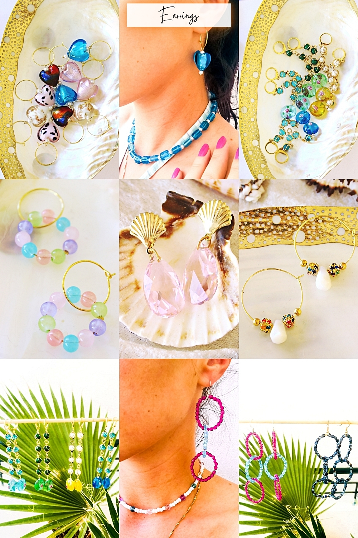 Fab & Happy jewelry colorful handmade earrings, drop dangle hoop earrings, 14k gold earrings, mindjuse