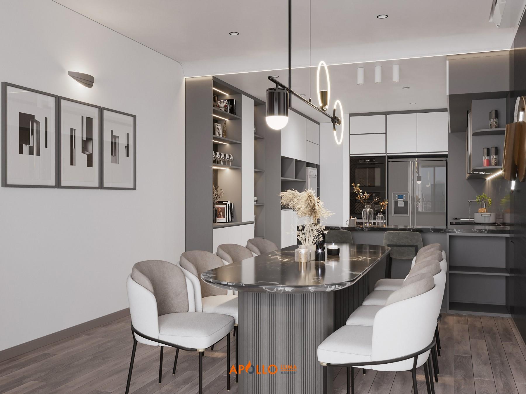 Thiết kế phòng bếp hiện đại cho căn hộ 2PN Times City