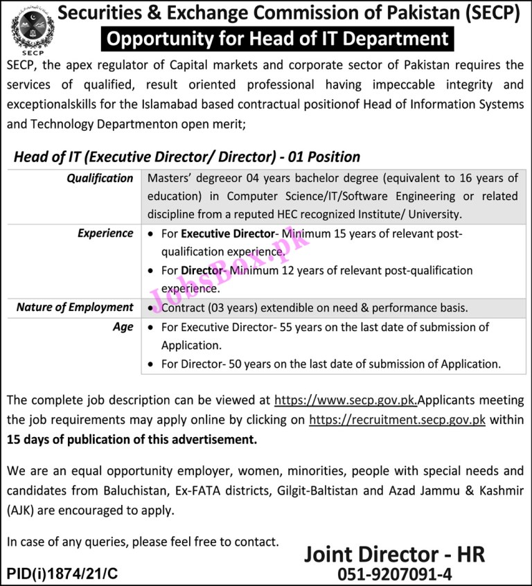 https://www.secp.gov.pk - SECP Securities and Exchange Commission of Pakistan Jobs 2021 in Pakistan