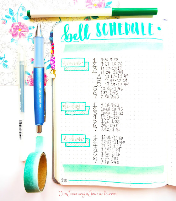 bullet journal bell schedule spread