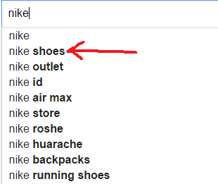 Nike shoes on Google search