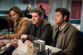 "Jared Padalecki as Sam Winchester, Jensen Ackles as Dean Winchester, Misha Collins as Castiel in Supernatural 12x10 ""Lily Sunder Has Some Regrets"""