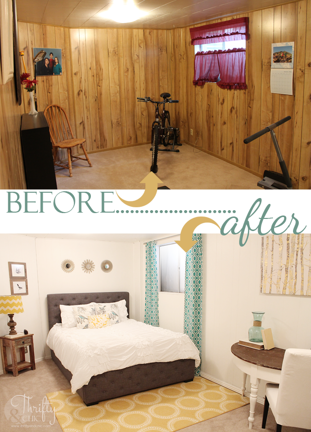 Bedroom Before and After -Painted wood paneling