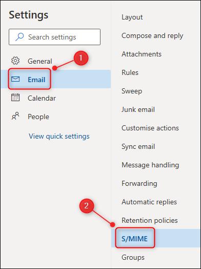 "قائمة إعدادات Outlook ، مع تحديد خيار ""S / MIME""."