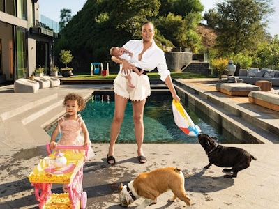 Chrissy Teigen her kids and dogs in adorable shots for Vogue; speaks on Kanye, Getting blocked by Trump, and actually Caring about fan Comments