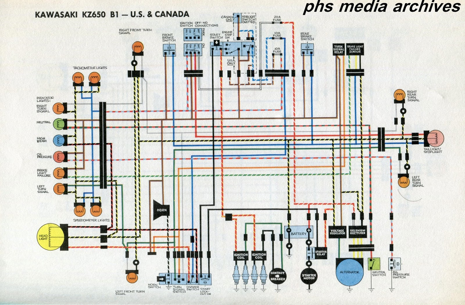 Tech Series Kawasaki Kz650 Wiring Diagrams Phscollectorcarworld American Standard Wire Diagram The Above Chart Covers North B1 Bikes For United States And Canadaa Nice Feature Here Is Wires Elements Are In Color Easier