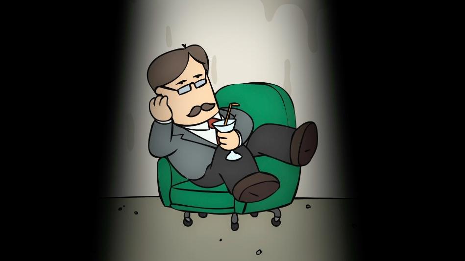 Polchinski esibisce tutto il proprio distacco sorseggiando un Martini durante l'interrogatorio.