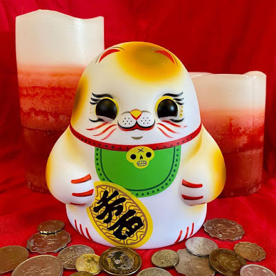 Maneki Neko Tiny Ghost Vinyl Figure by Reis O'Brien x Bimtoy x Bottleneck Gallery