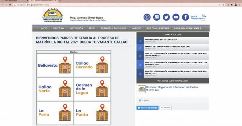 BUSCA TU VACANTE CALLAO: DREC pone en marcha Matrícula Escolar desde hoy 25 de enero [CRONOGRAMA]