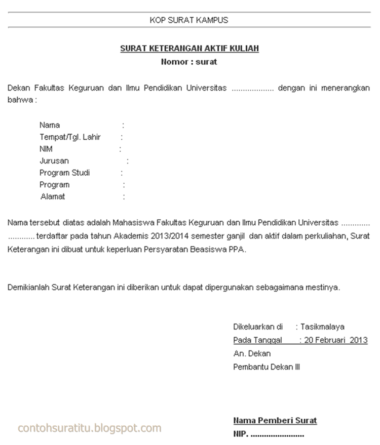 Contoh Surat Aktif Kuliah Informasi Seputar Dunia Militer