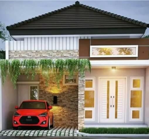 Model Rumah Minimalis Tampak Depan Batu Alam 1 Lantai