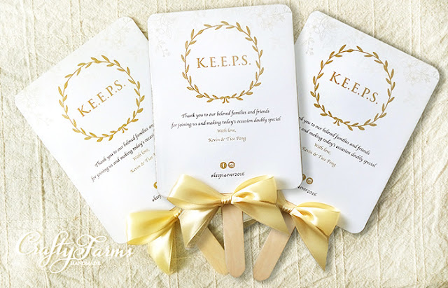 White and Gold Wedding Themed Program Fans