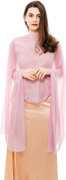 Cheap Sheer Soft Pink Chiffon Scarves Shawls