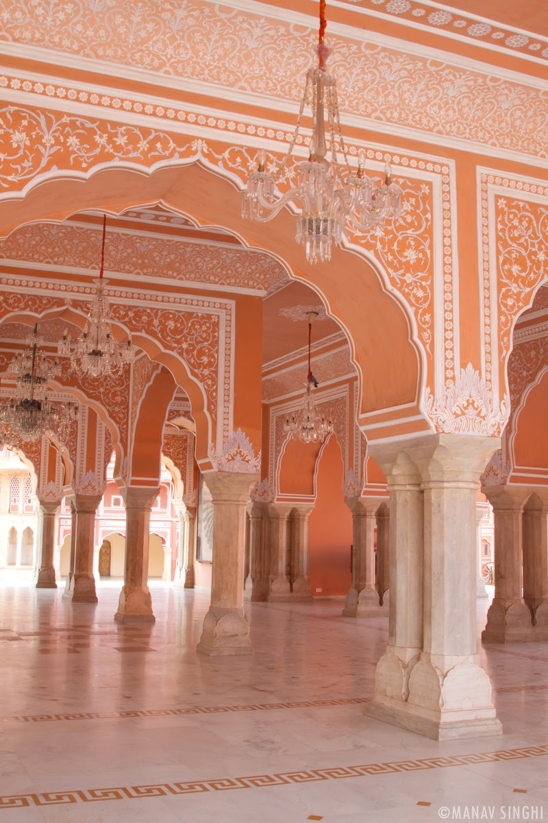 Crystal chandeliers and Beautiful Diwan e Khas  at The City Palace, Jaipur.