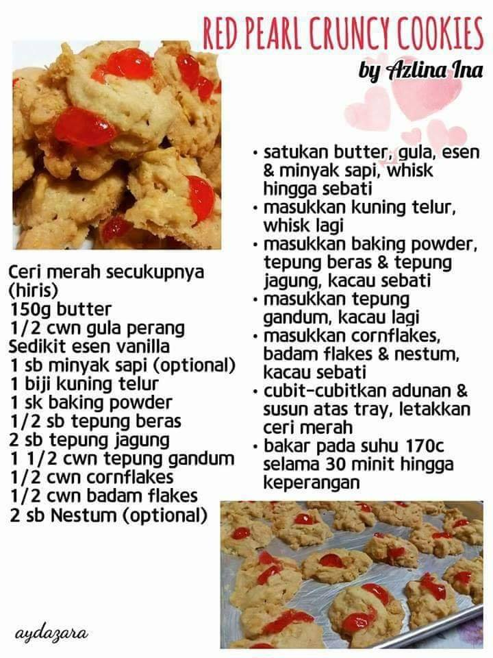 resepi red pearl crunchy cookies