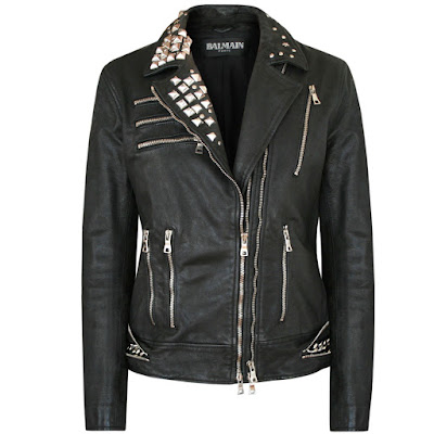 balmain pairs biker punk studded leather jacket