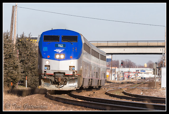 Amtrak 192 leads the Ann Rutledge at Knox Ave. on Union Pacific's Jefferson City Subdivision.