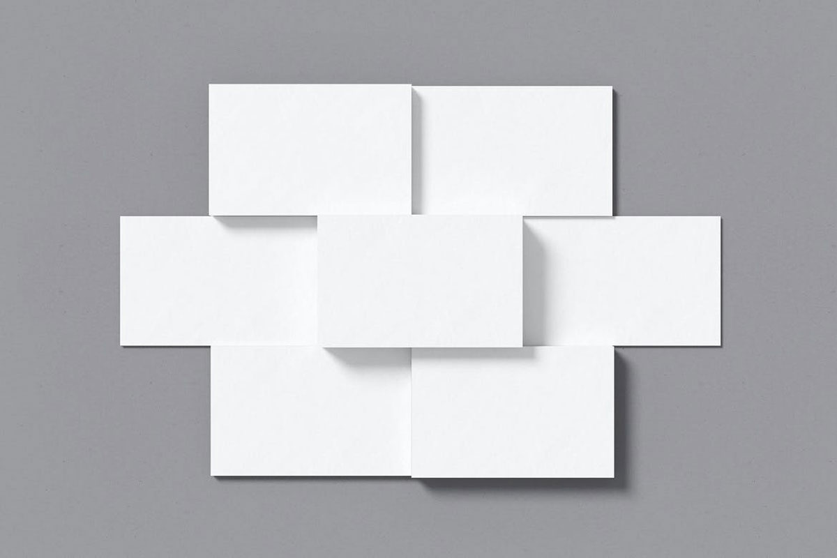 Top view Combined Business Card Mockup..
