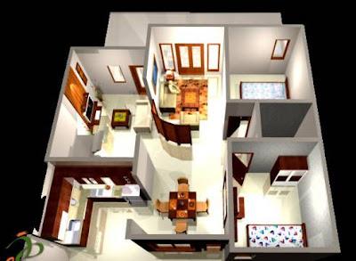 Contoh Denah Rumah Minimalis 1 Lantai Type 36