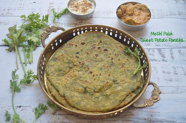 Palak Methi Sweet Potato Paratha | Healthy Paratha