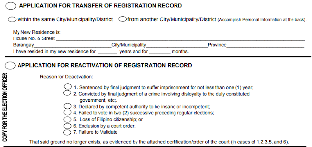 COMELEC Voters Application for Transfer and Reactivation of Registration Philippines