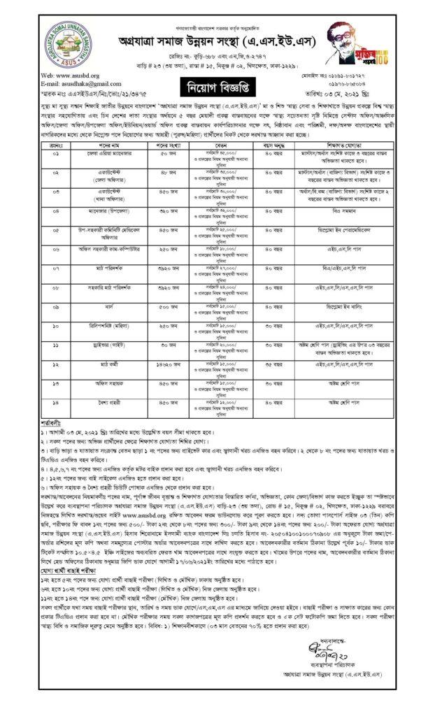 Agrajatra Somaj Unnayan Sangstha Jobs Circular
