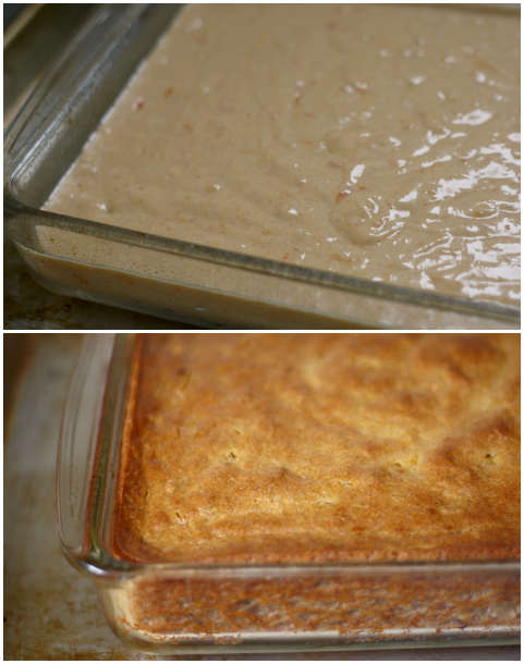 persimmon pudding, before and after baking
