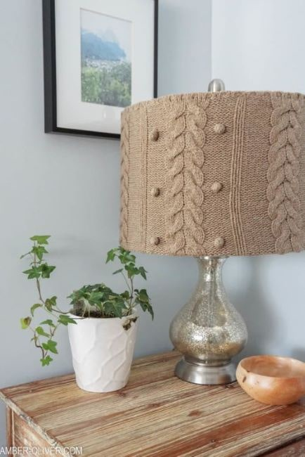 upcycle an old sweater into a beautiful lampshade DIY