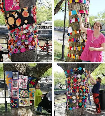 Kollaasi Knit 'n' Tag-neulegraffititapahtuman koristelluista puista