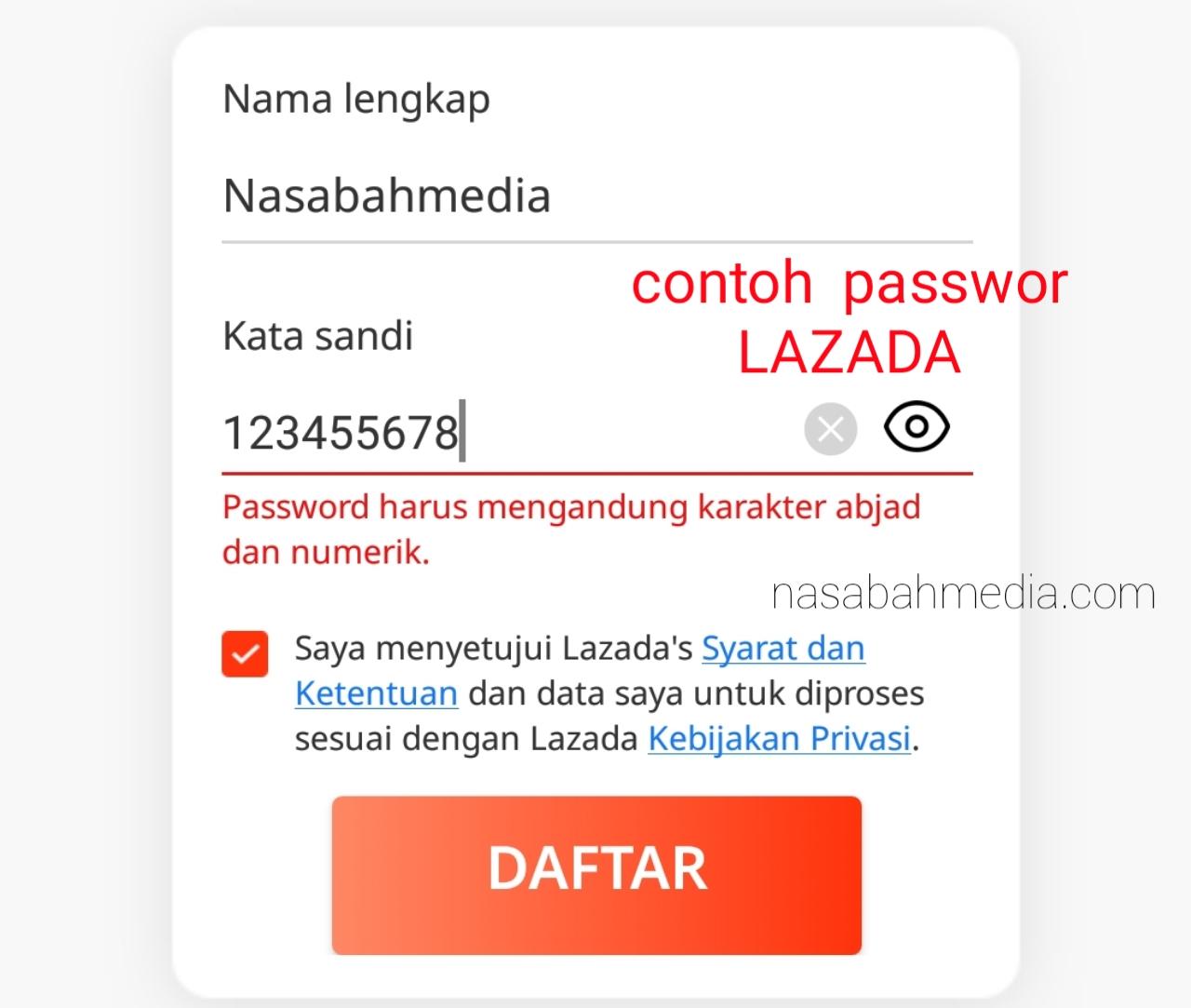 contoh password lazada