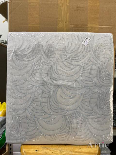 Hotfix stickers dmc rhinestone aplikasi tudung bawal fabrik pakaian corak moden dedaun besar sliver
