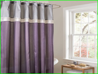 purple and grey curtains with borders