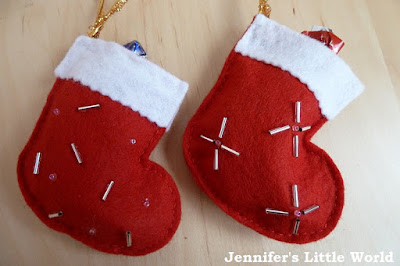 How to make felt stocking decorations for Christmas