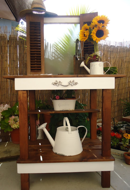 Vintage Window and Shutters Repurposed to a Charming Table-SOLD