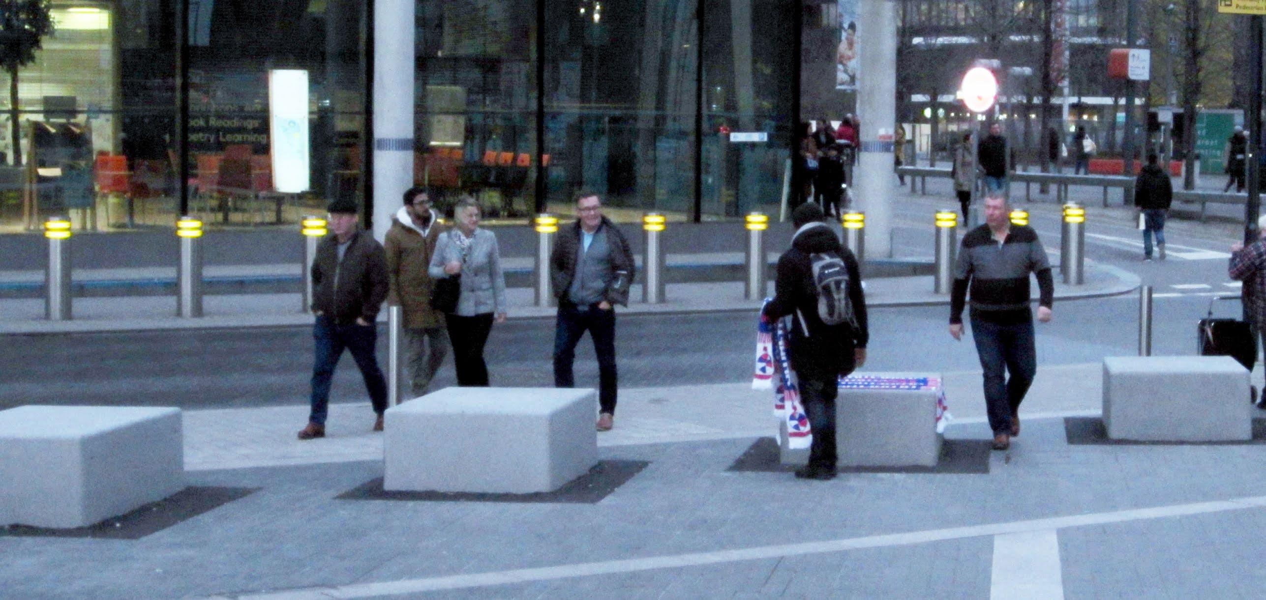 Harlem Globetrotters scarf salesman outside The SSE Arena Wembley