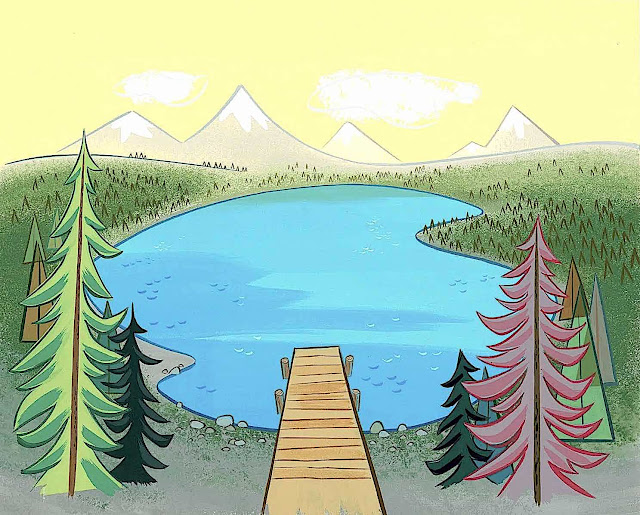 an Art Lozzi animation background of a dock on a lake, birds-eye view