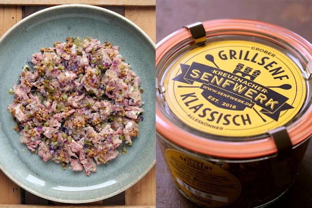 Schwartenmagen-Salat mit Senf aus dem Kreuznacher Senfwerk.