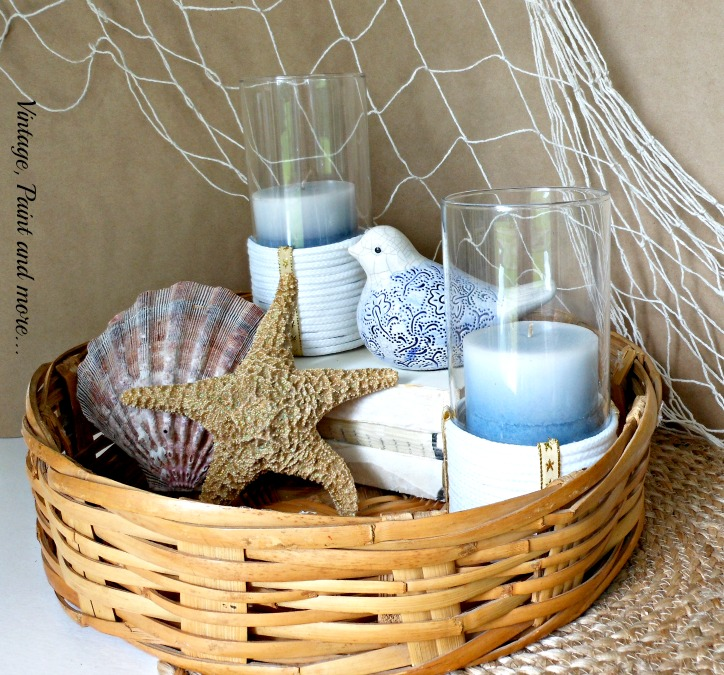 Vintage, Paint and more... beach decor for living room, beach decor diy with rope wrapped candle holders