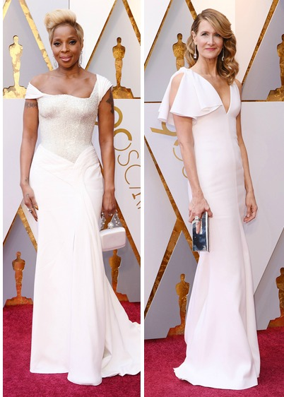 Mary J Blige and Laura Dern in White Oscars 2018