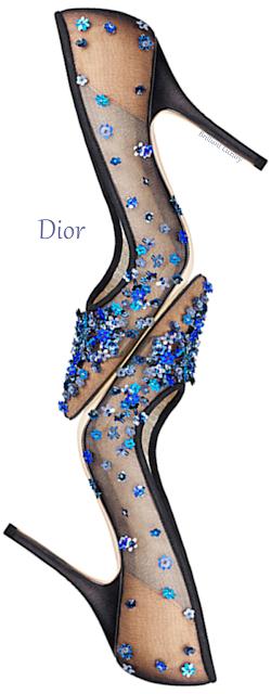 Blue flower embroidered Dior pumps #brilliantluxury