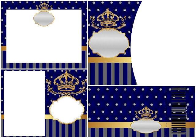 Corona Dorada en Azul y Brillantes: Invitaciones para Bodas para Imprimir Gratis.