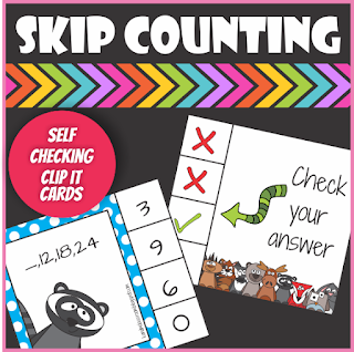 Woodland Animals Skip Counting Clip it Cards