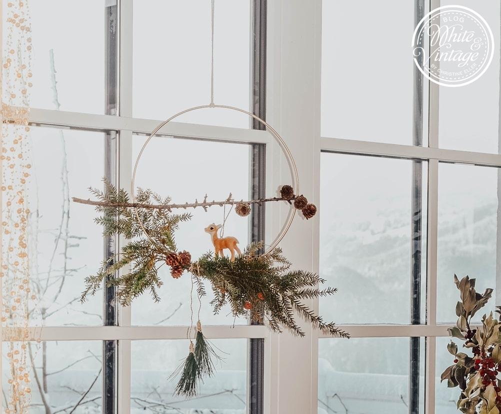 Winterkranz aus Christbaumzweigen basteln