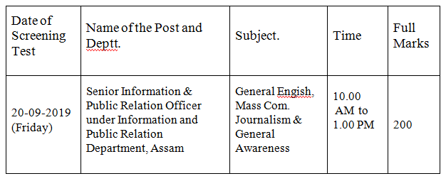 APSC Announced Written Test Date, Syllabus for Senior/Junior Information and Public Relation Officer