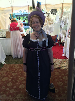 Sheer black cotton gown with lilac silk ribbon trim